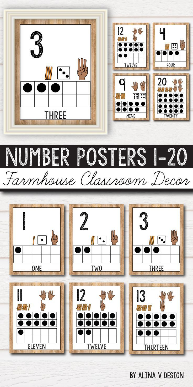 Number Posters 0-20 - Farmhouse Theme, Rustic Classroom Decor pertaining to Number Ten Template For First Grade