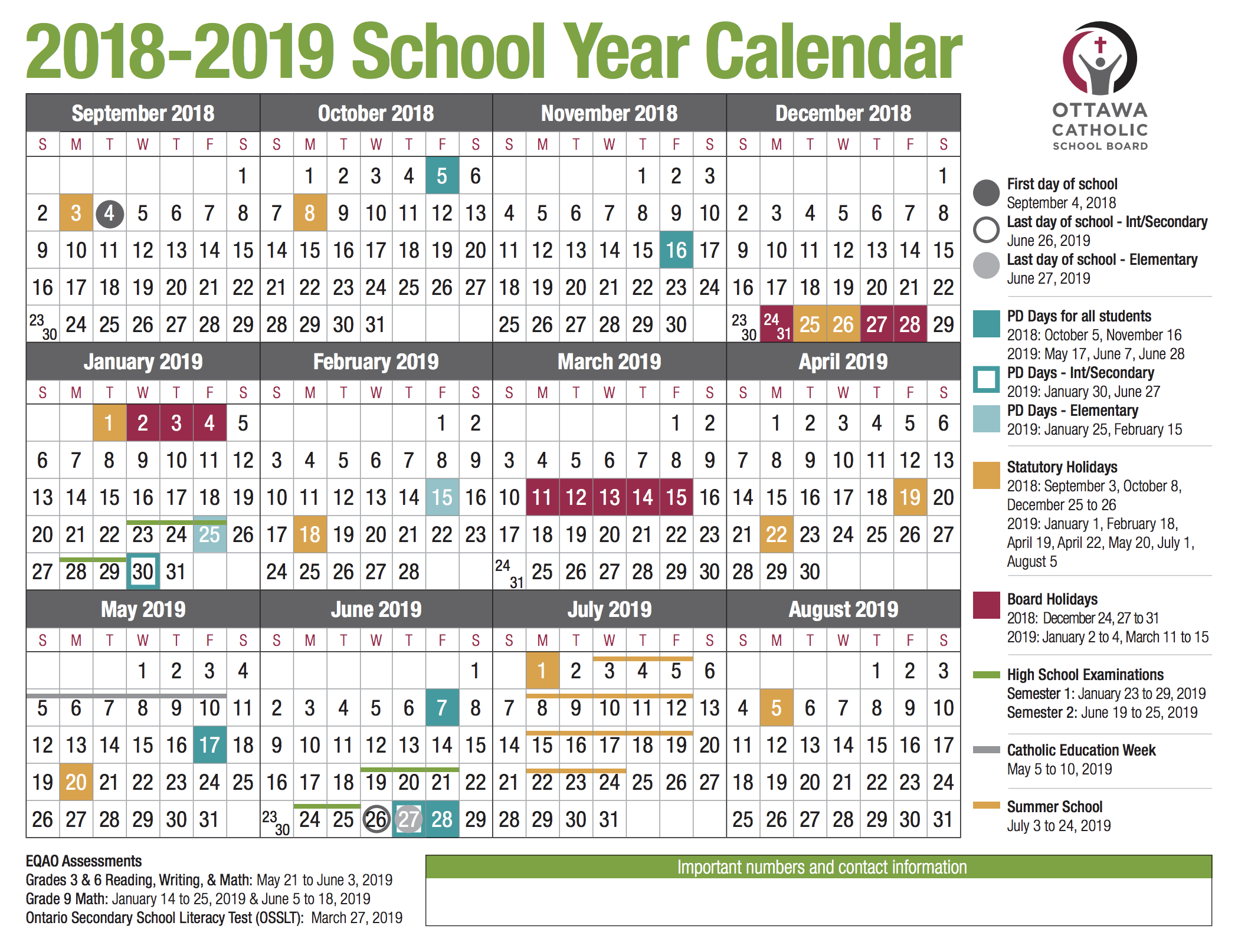 Ocsb-School-Year-Calendar-Image-2018-2019 - Ocsb pertaining to Six Nations School Caldendar 2019-2020