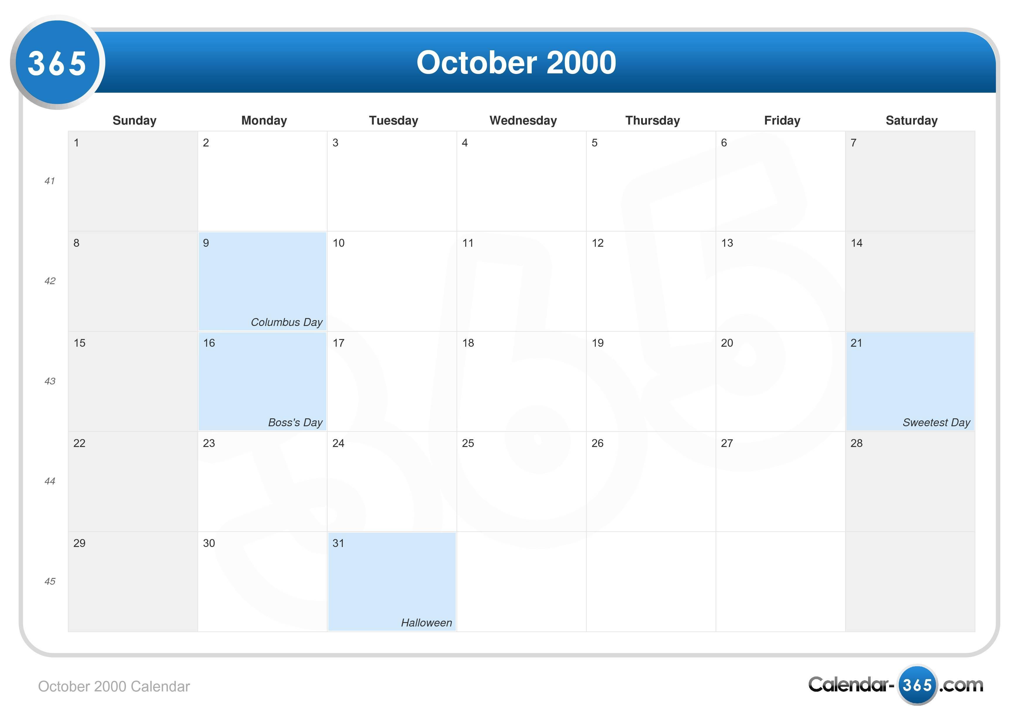 October 2000 Calendar in Catholic Calander For October 2019