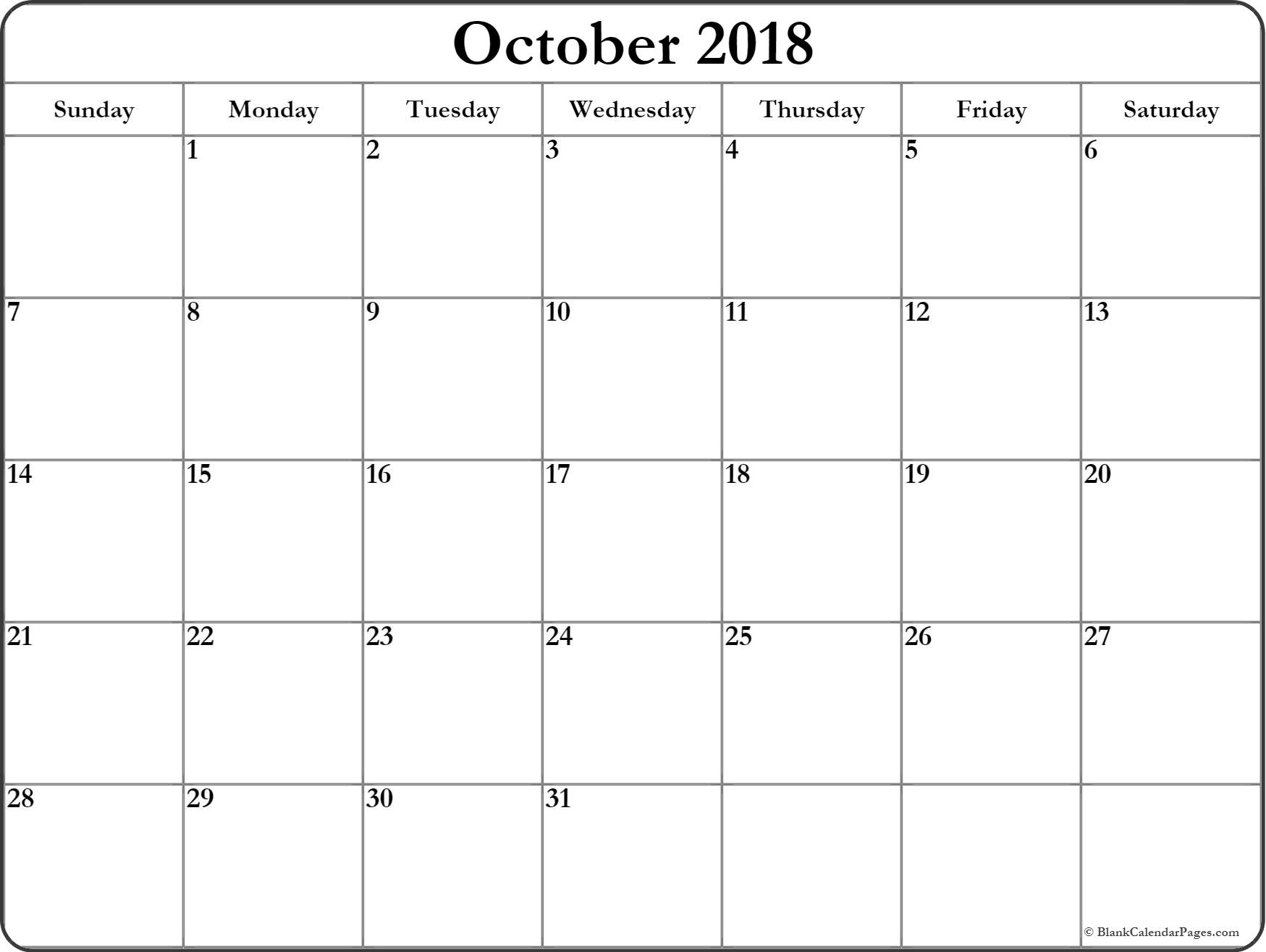 October 2018 Blank Calendar Printable Planner Templates regarding Blank Calendar For Sept
