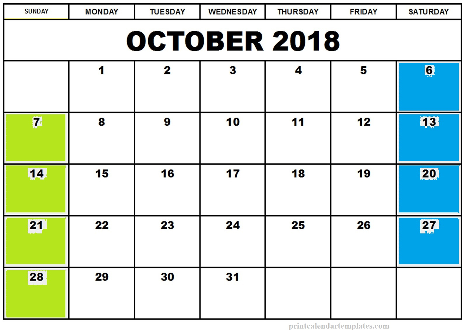 October 2018 Blank Calendar Printable Planner Templates throughout Cute Blank Calendar Page Template