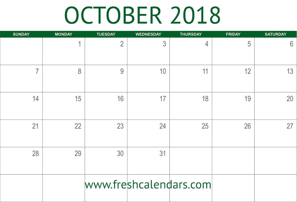 October 2018 Calendar Printable - Fresh Calendars for October Blank Calendar Monday To Friday Only