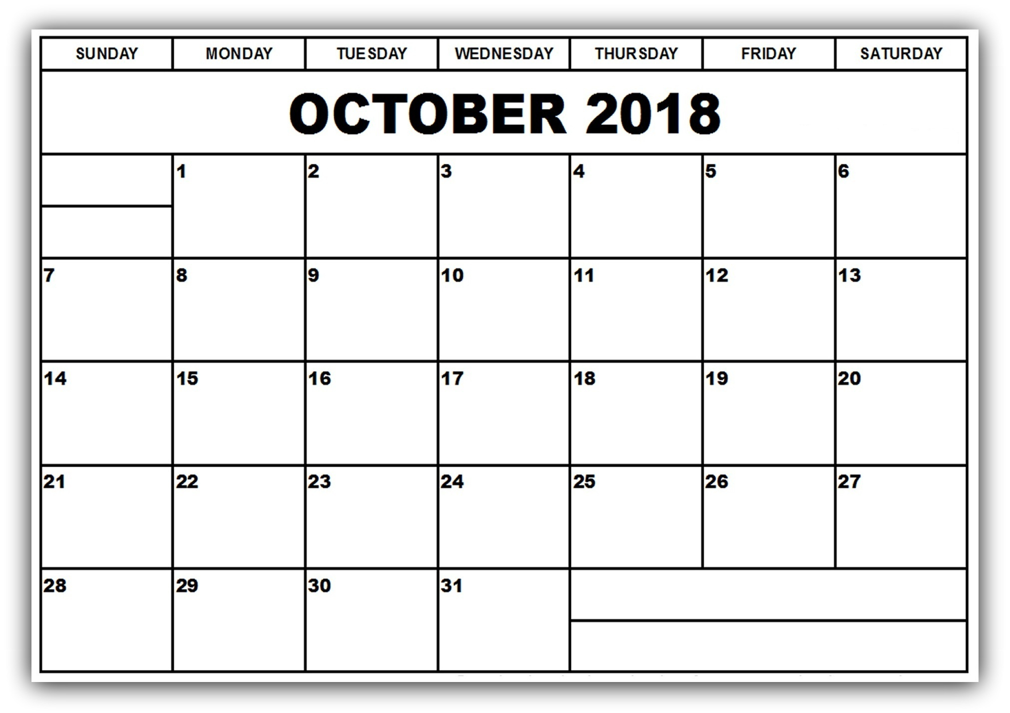 October 2018 Calendar Template For Pages - Free Printable Calendar throughout October Calendar Printable Template