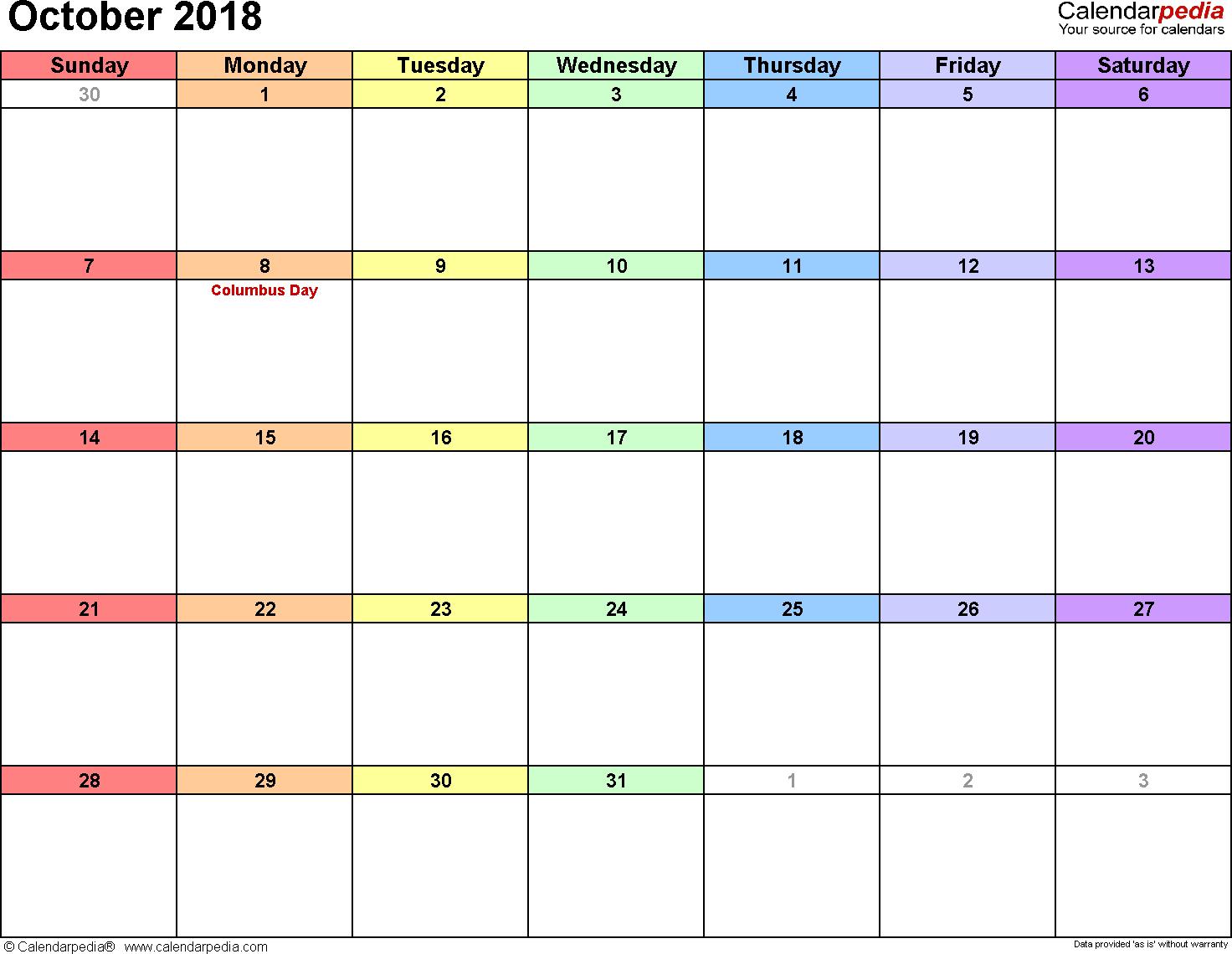 October 2018 Calendars For Word, Excel & Pdf regarding October Calendar Printable Template
