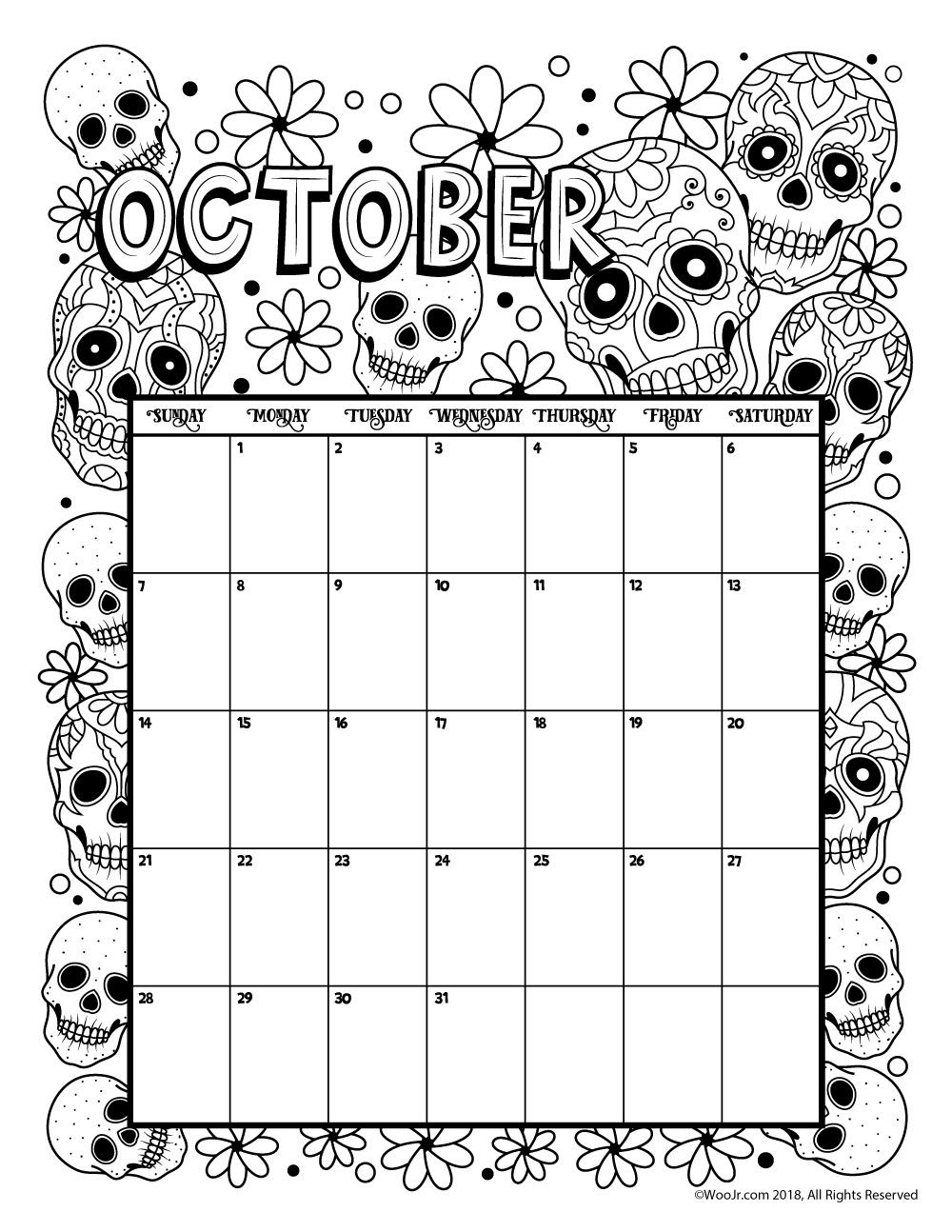 October 2018 Coloring Calendar Page | Сделай Сам | Календарь Для within Free Printable Adult October Calendar 2019 Coloring Sheets