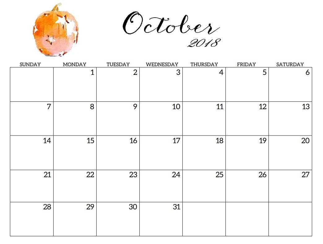 October 2018 Printable Blank Calendar | Latest Calendar | Editable intended for Monday To Sunday Calendar Template October