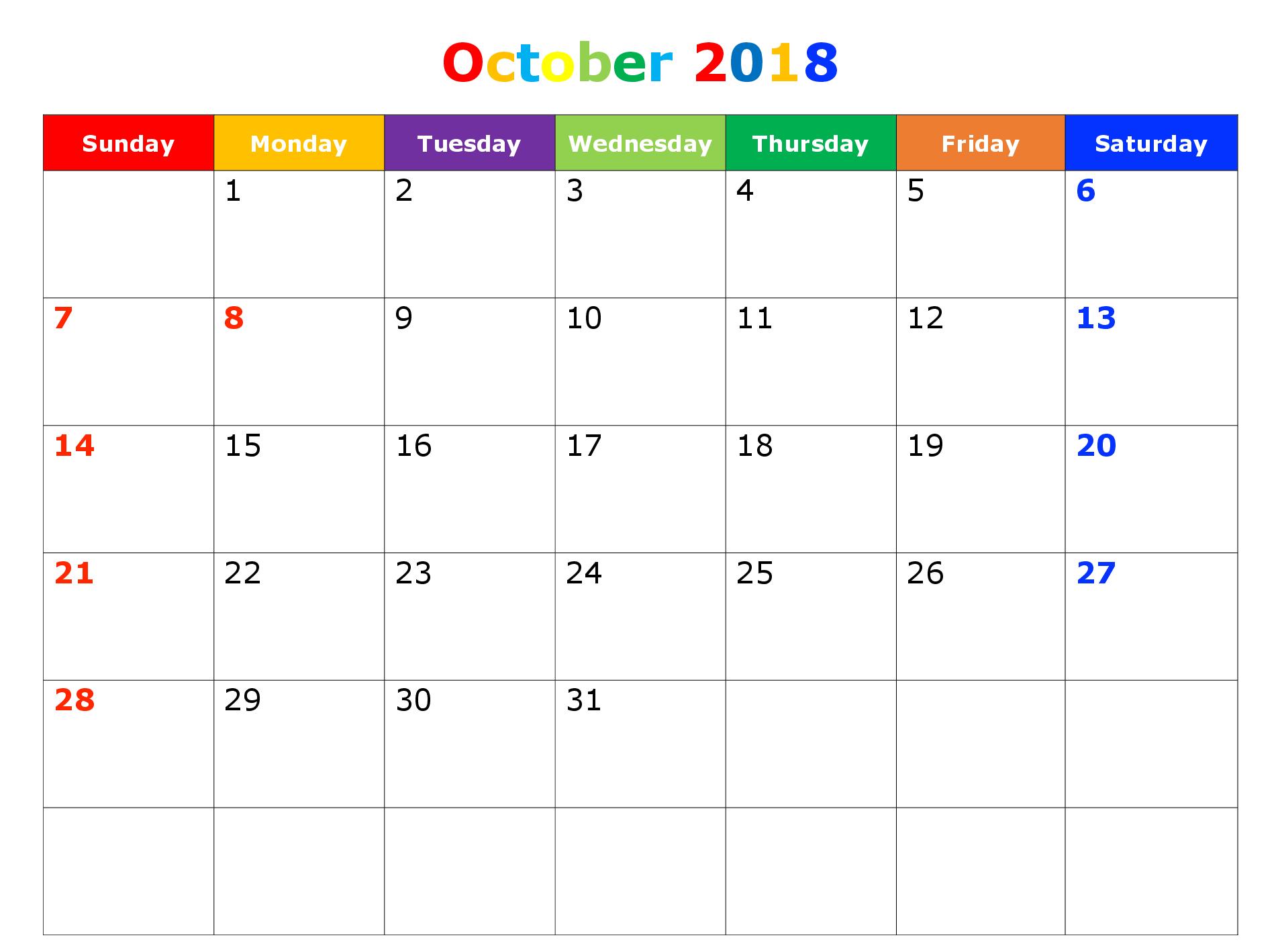 October 2018 Printable Calendar Blank Templates Free Download pertaining to October Calendar Printable Template