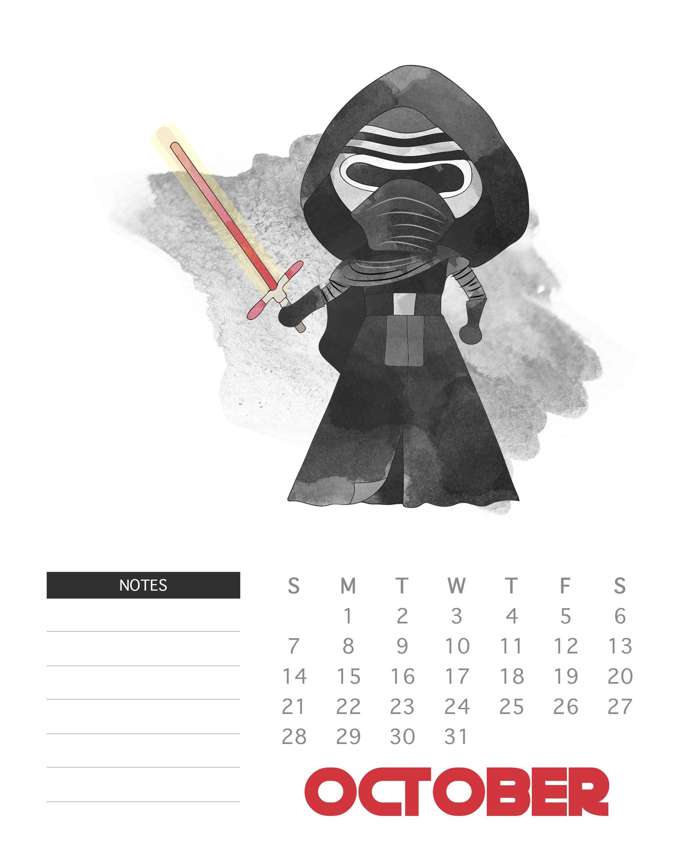 October 2018 Star Wars Calendar Template | Monthly Wallpaper inside Star Wars Templates Printables Calendar