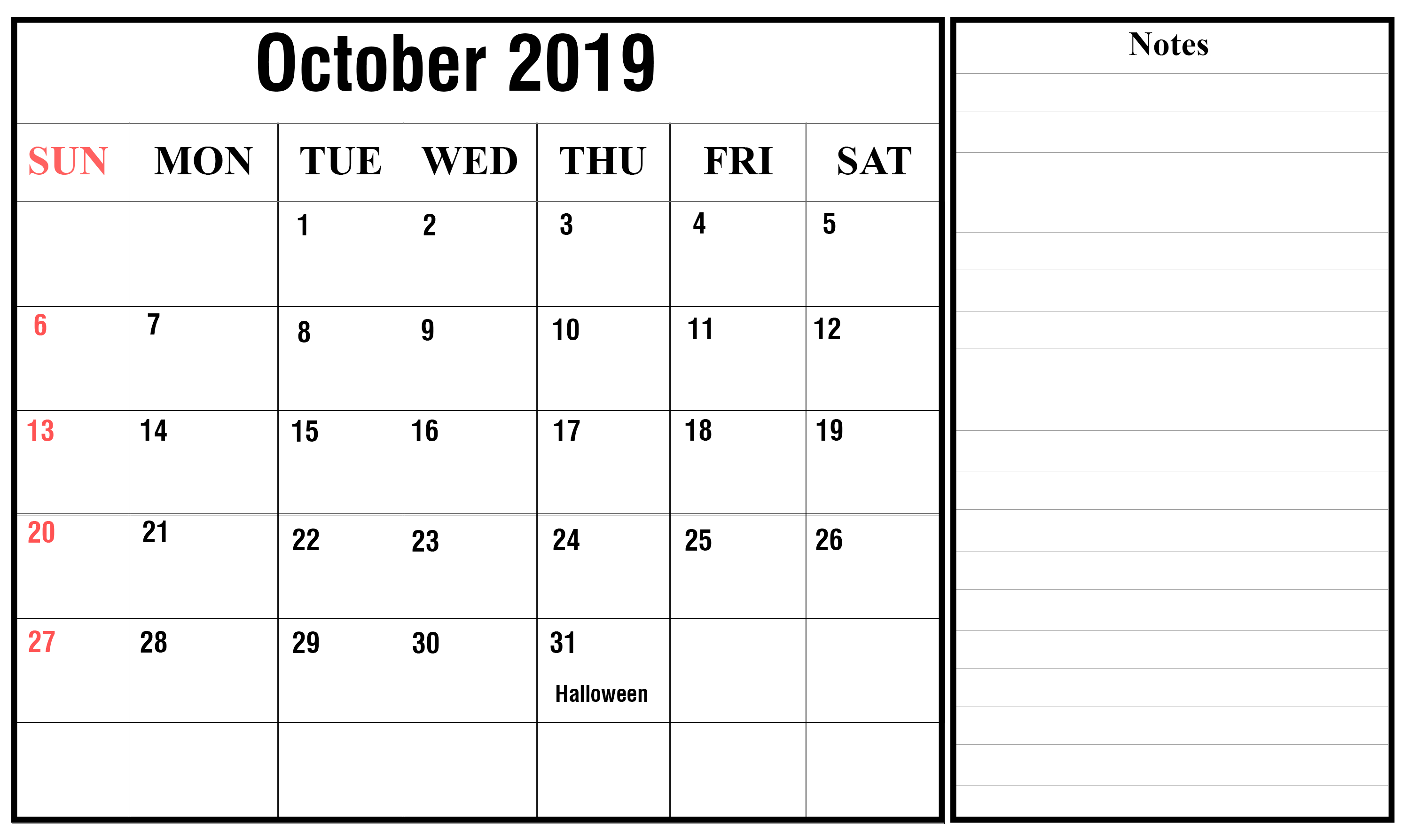 October 2019 Blank Calendar Printable Template With Editable Notes intended for Free Printable Scary October Calendar 2019