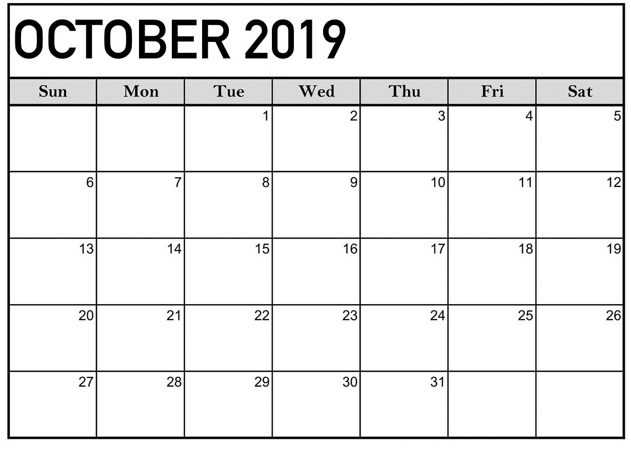 October 2019 Calendar Blank Templates - Print Calendar with regard to Editable October 2019 Calendar With Religious Holidays