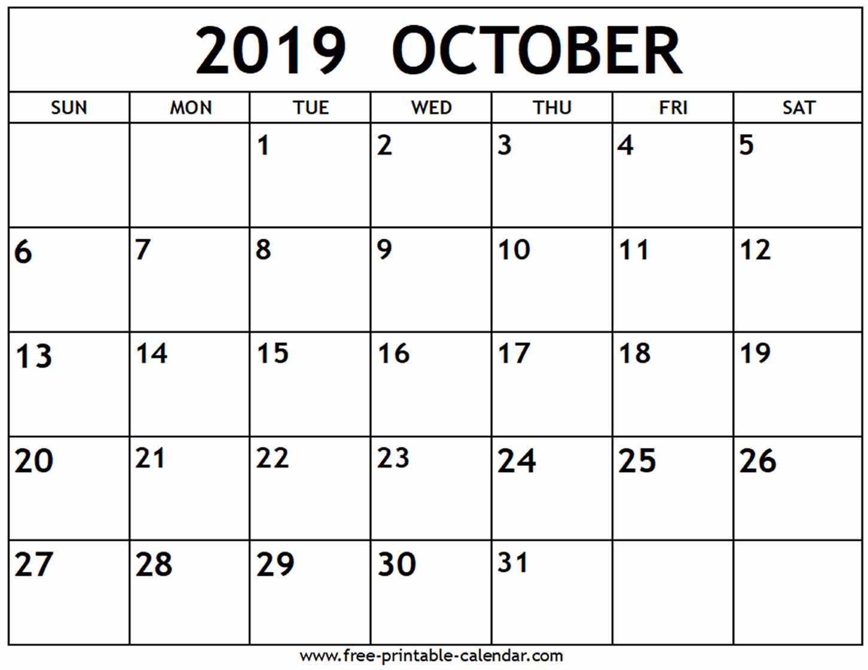 October 2019 Calendar - Free-Printable-Calendar in Calendars Sept And October 2019