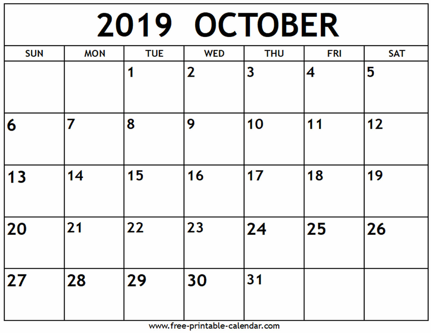 October 2019 Calendar - Free-Printable-Calendar intended for Blank Calendar For Sept