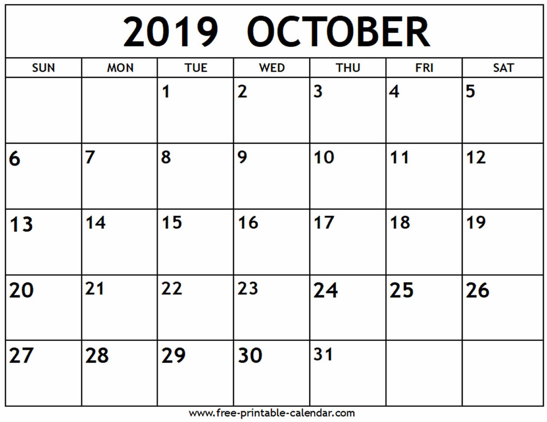 October 2019 Calendar – Free-Printable-Calendar – Nycelects throughout Free Printable Calendars 2020 Waterproof