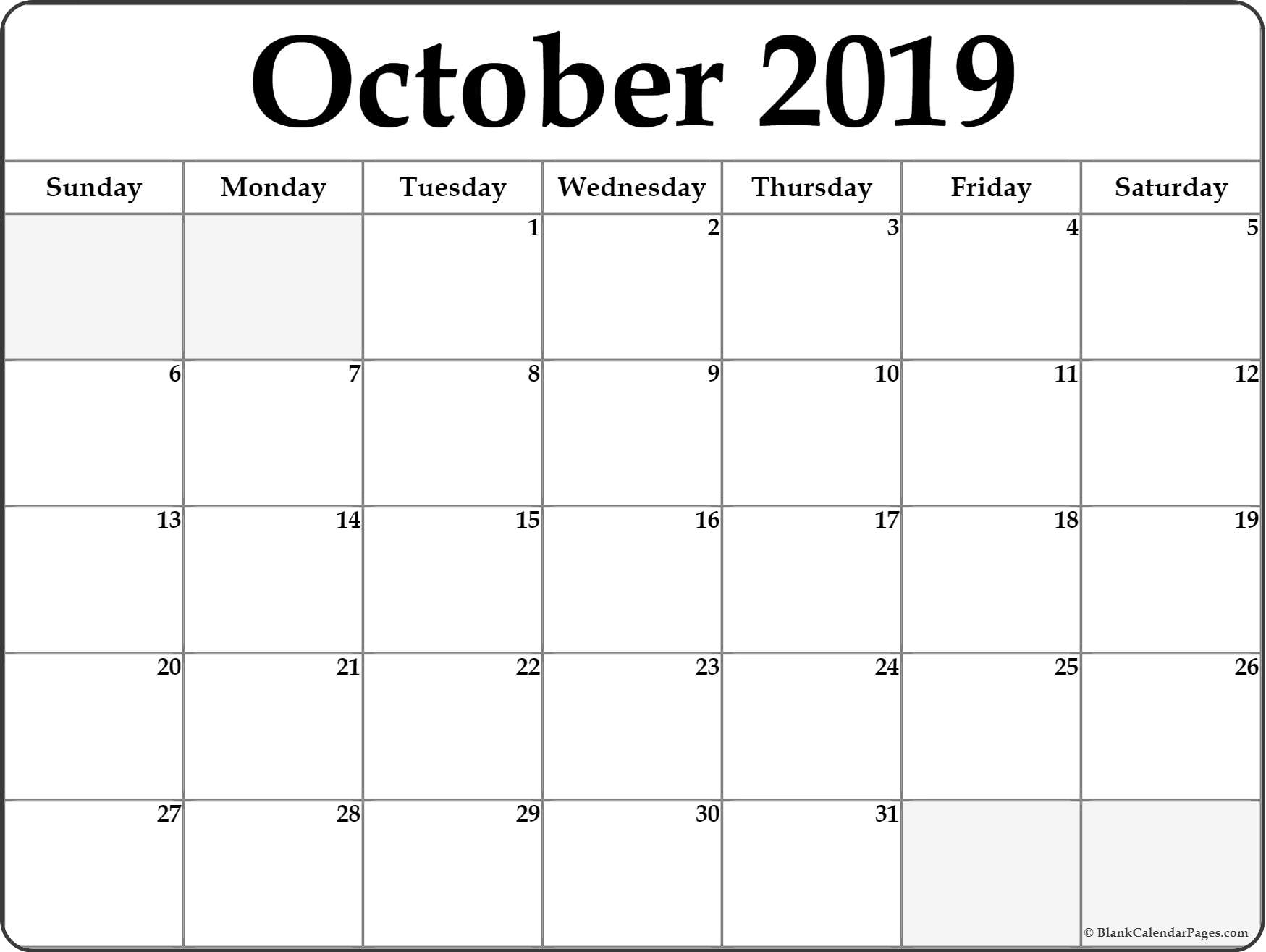 October 2019 Calendar | Free Printable Monthly Calendars in October Blank Calendar Monday To Friday Only