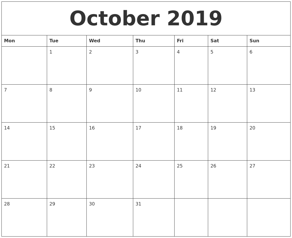 October 2019 Calendar inside Printable Blank Calendar October November December