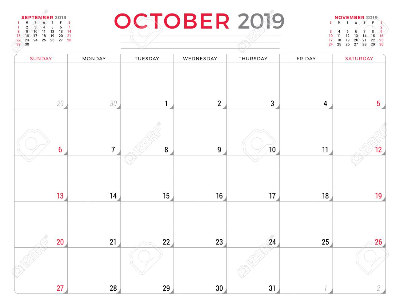October 2019. Calendar Planner Stationery Design Template. Vector.. intended for Monday To Sunday Calendar Template October