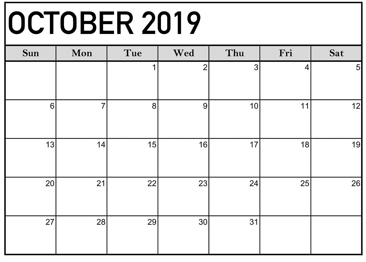 October 2019 Calendar Printable Word Template - Latest Printable in Blank Calender Academic Year 2019 -2020