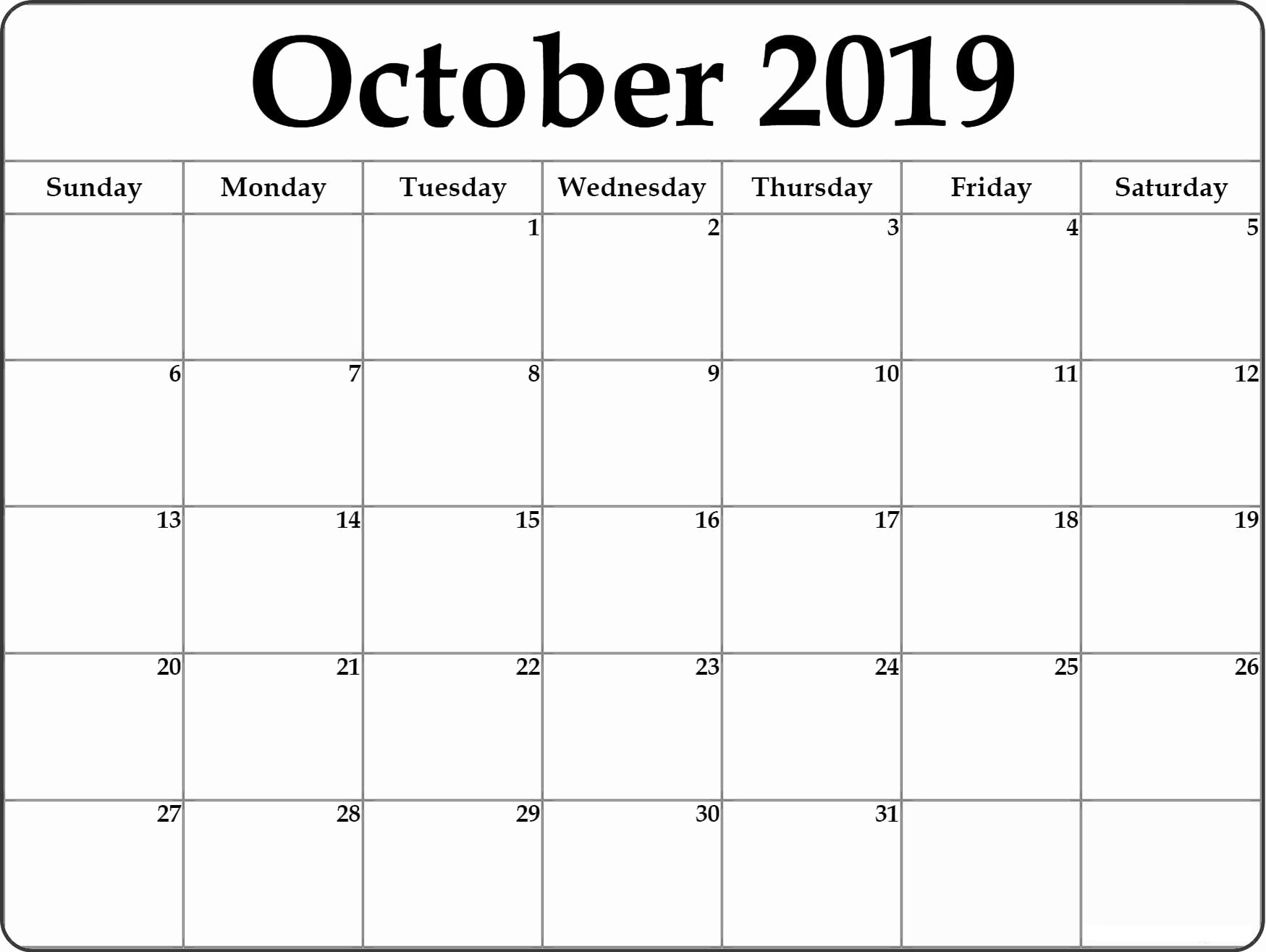 October 2019 Calendar With Holidays Planner - Print Calendar inside Editable October 2019 Calendar With Religious Holidays