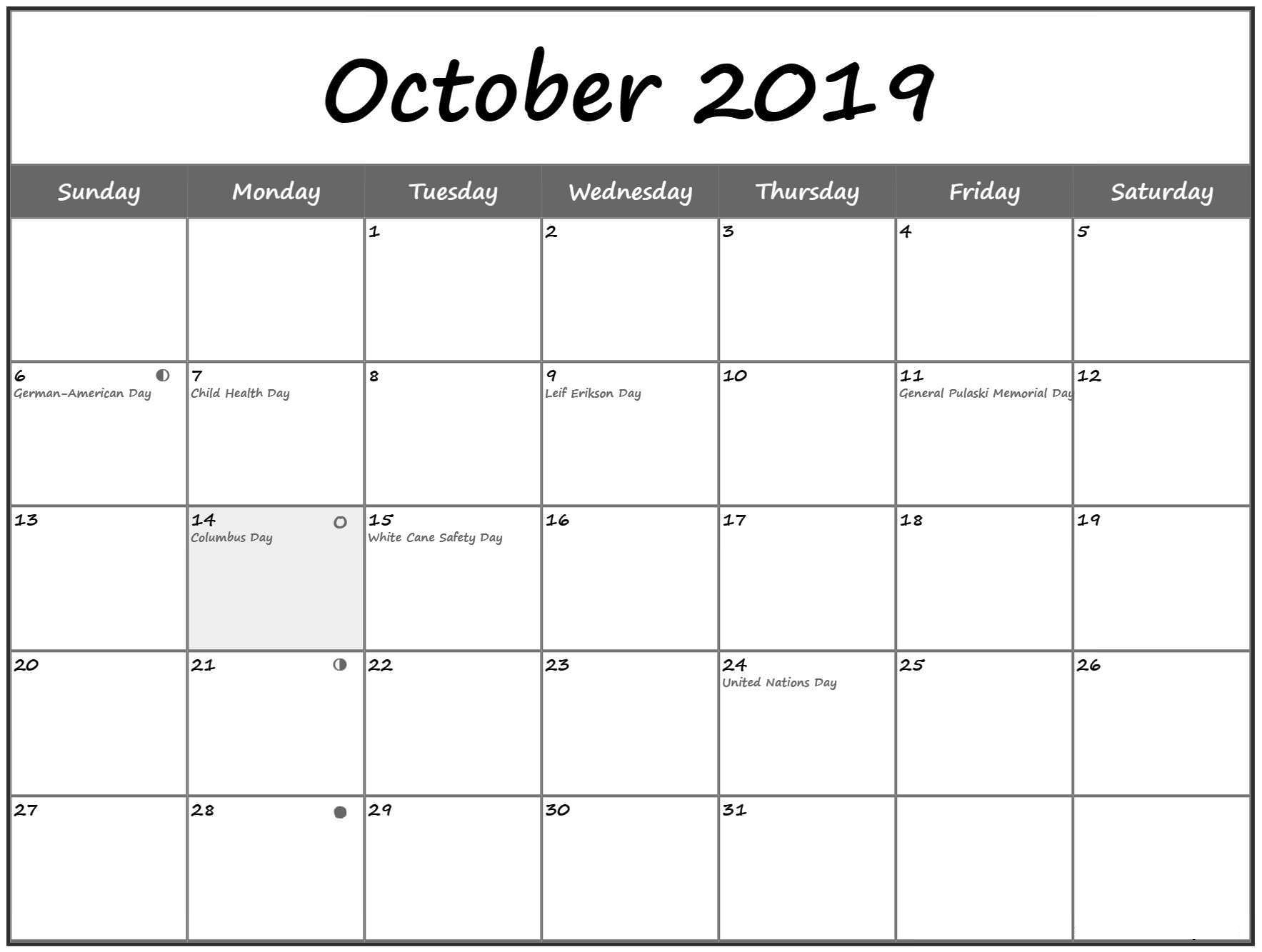 October 2019 Calendar With Holidays Printable With Notes inside Free Printable Scary October Calendar 2019