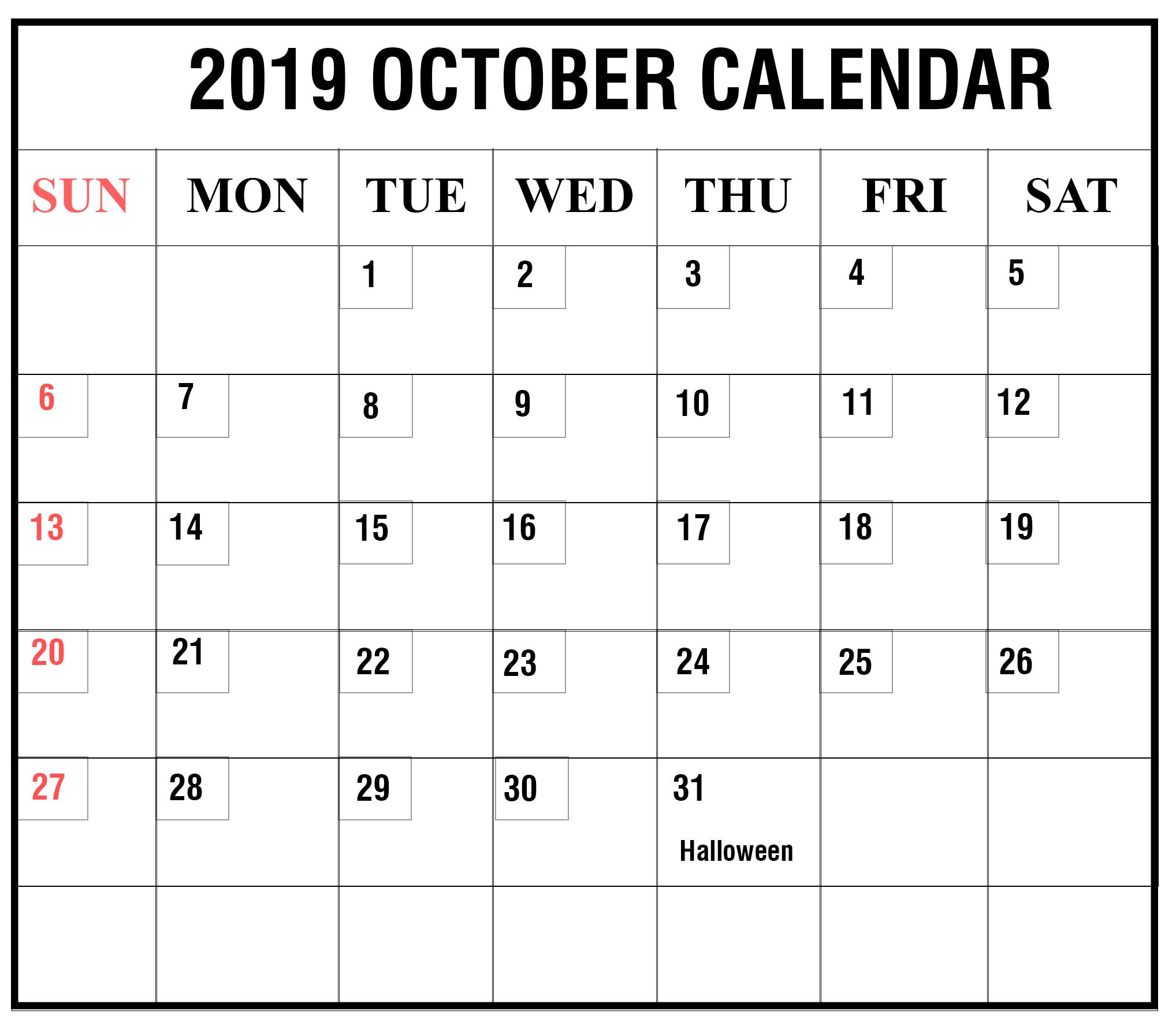 October 2019 Calendar With Holidays Usa, Uk, Canada, India, Australia within Calendar October 2019 Australia Images