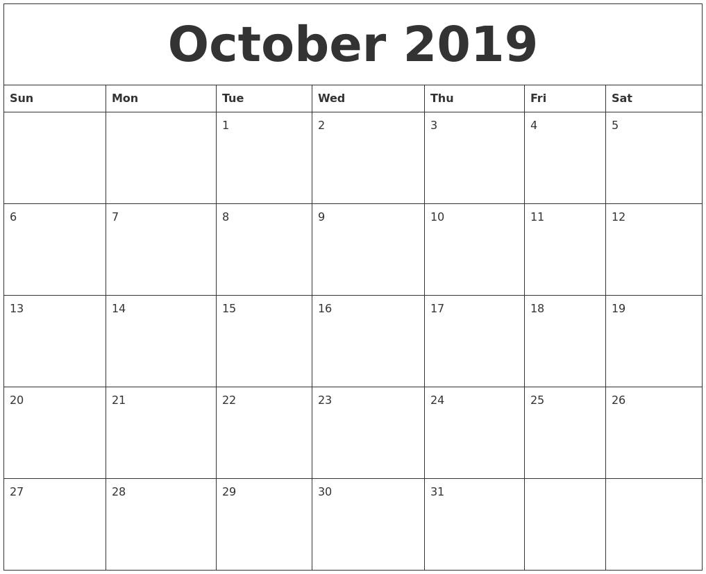October 2019 Calendar with regard to Monday To Sunday Calendar Template October