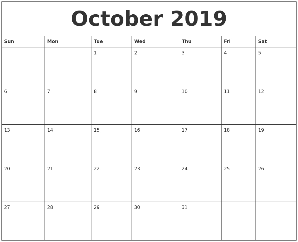 October 2019 Calendar within Calendar 2019 October To December