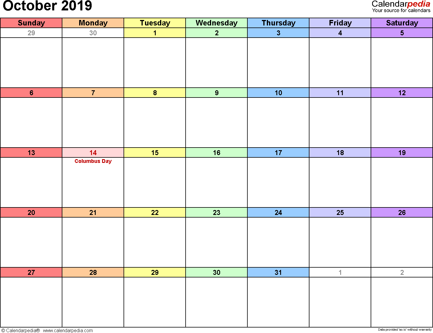 October 2019 Calendars For Word, Excel & Pdf in Monday To Sunday Calendar Template October
