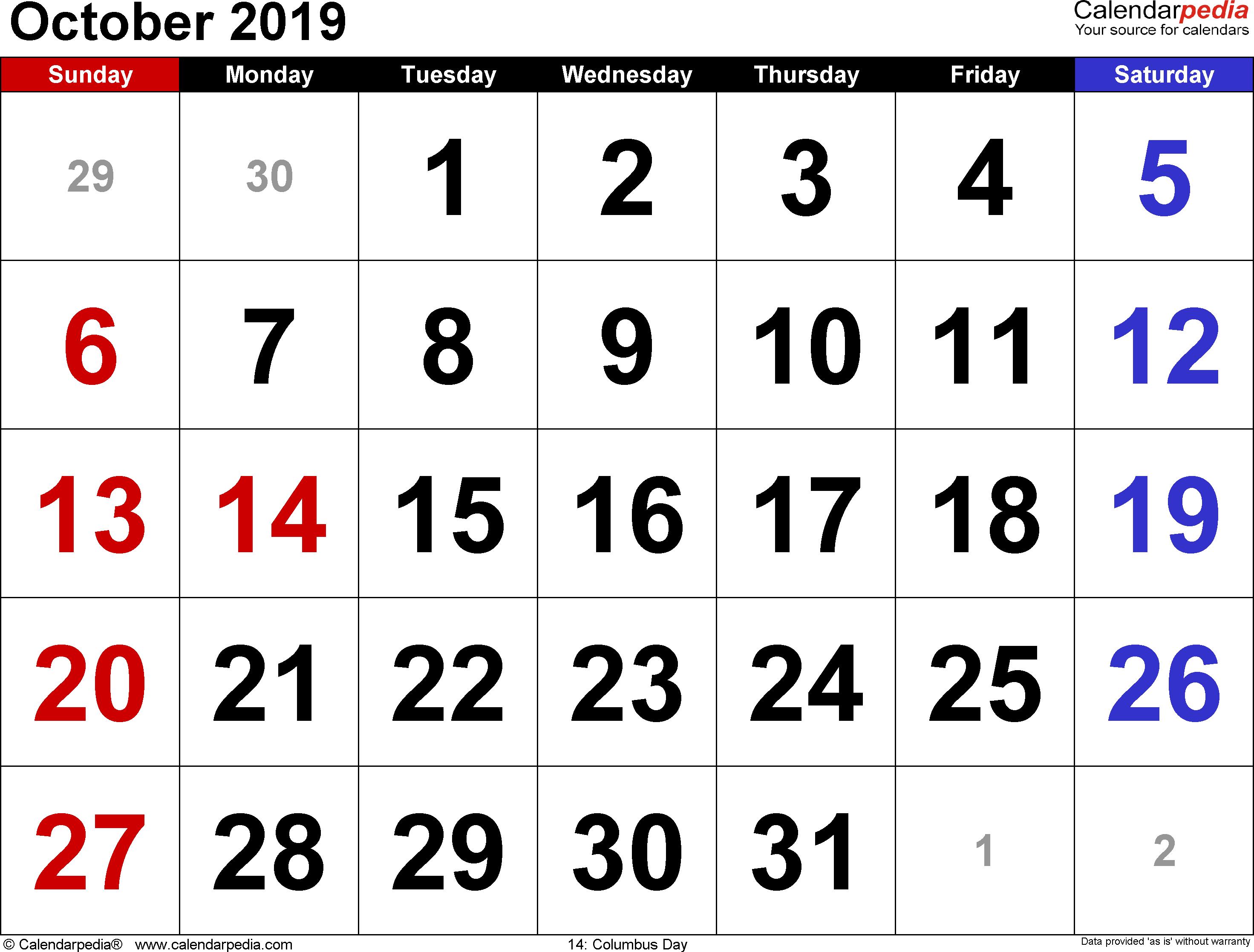 October 2019 Calendars For Word, Excel & Pdf with Calendar October 2019 Australia Images