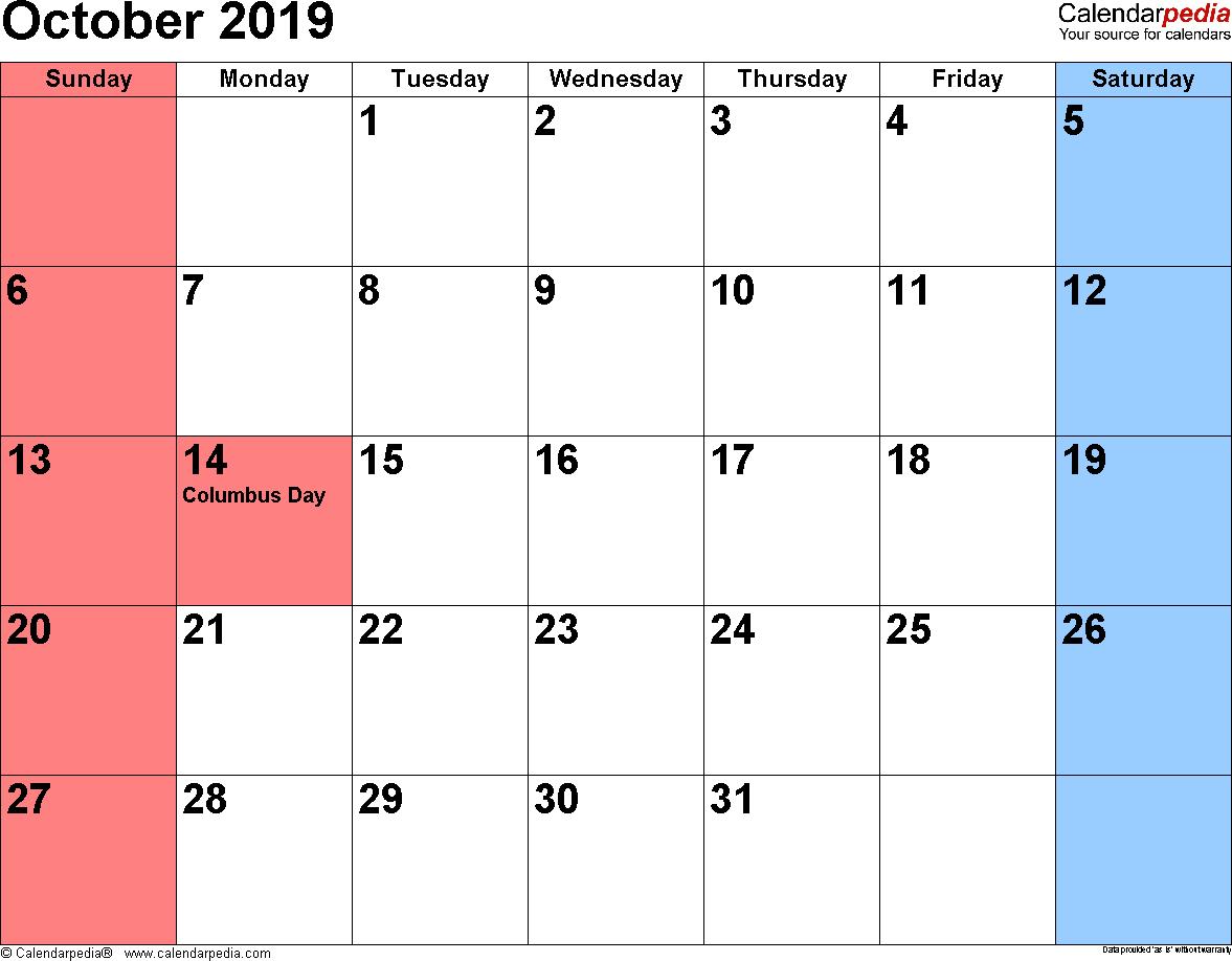 October 2019 Calendars For Word, Excel & Pdf within Calendar 2019 October To December