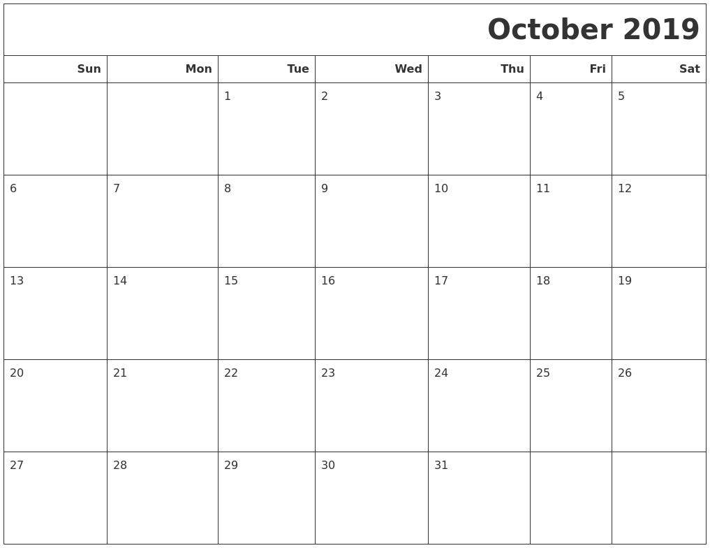 October 2019 Calendars To Print with Monday To Sunday Calendar Template October