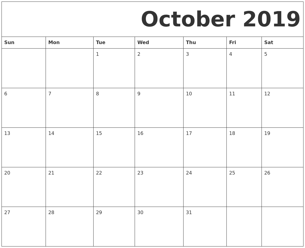 October 2019 Free Printable Calendar with Monday To Sunday Calendar Template October