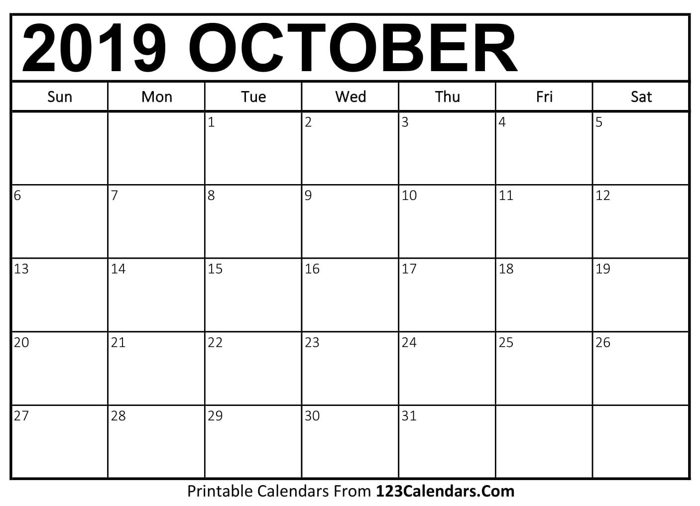 October 2019 Printable Calendar | 123Calendars in Editable October 2019 Calendar With Religious Holidays