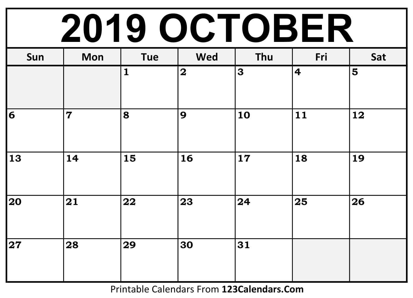 October 2019 Printable Calendar | 123Calendars inside Editable October 2019 Calendar With Religious Holidays