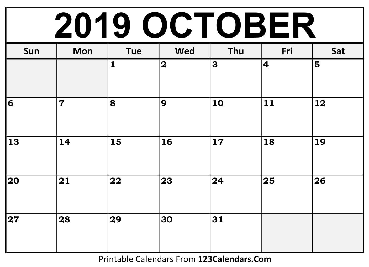 October 2019 Printable Calendar | 123Calendars regarding Calendars Sept And October 2019