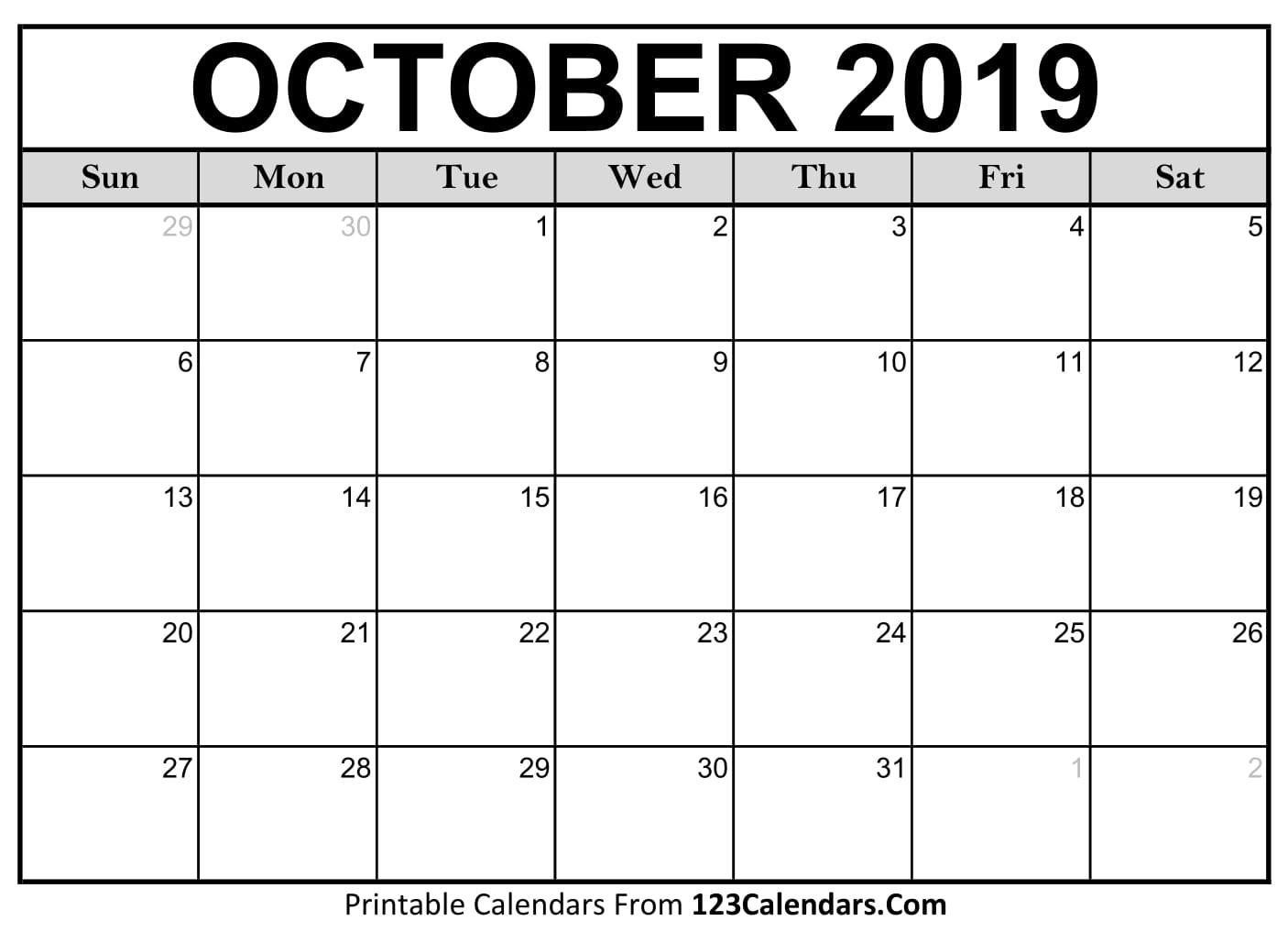 October 2019 Printable Calendar | 123Calendars with Calendar 2019 October To December
