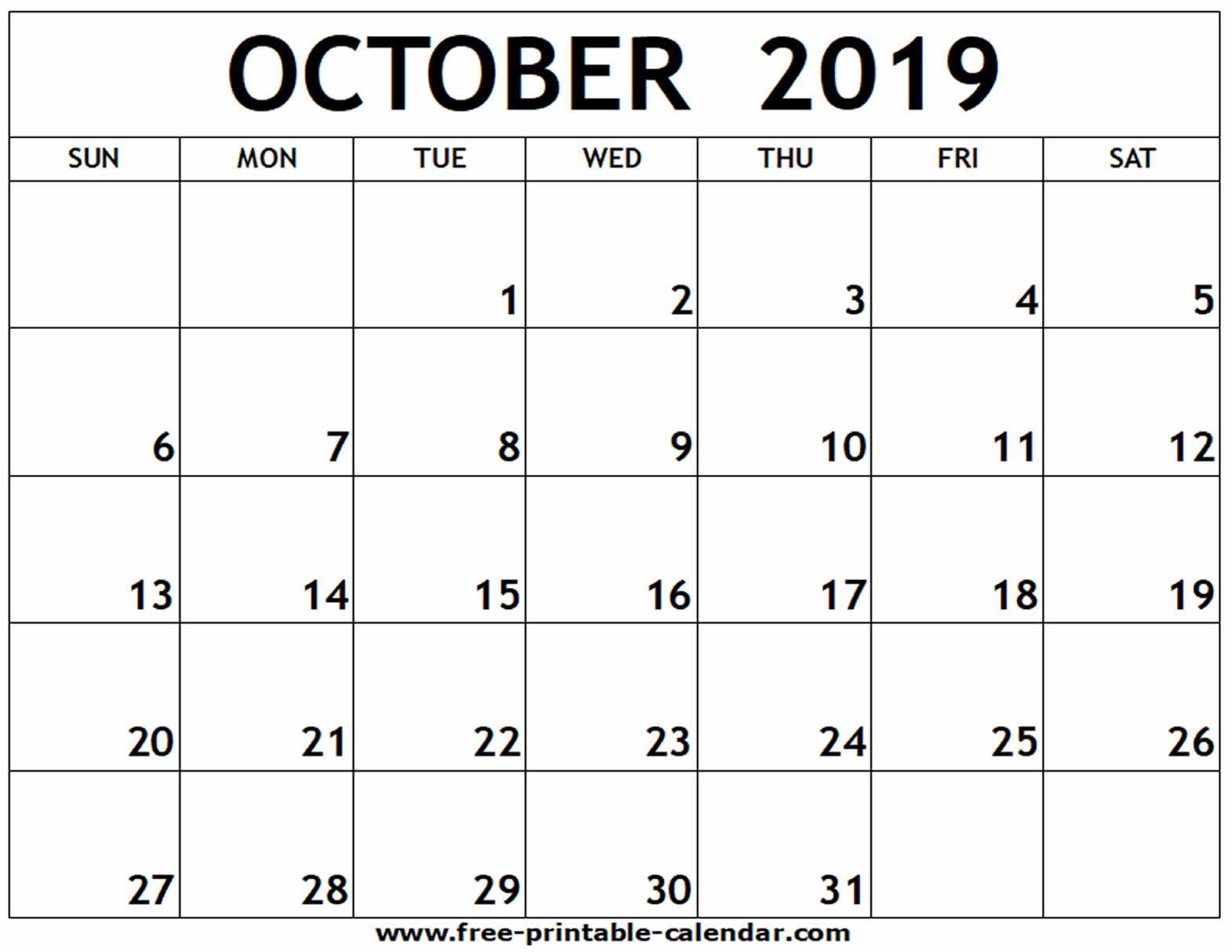 October 2019 Printable Calendar - Free-Printable-Calendar for Calendar October 2019 Australia Images