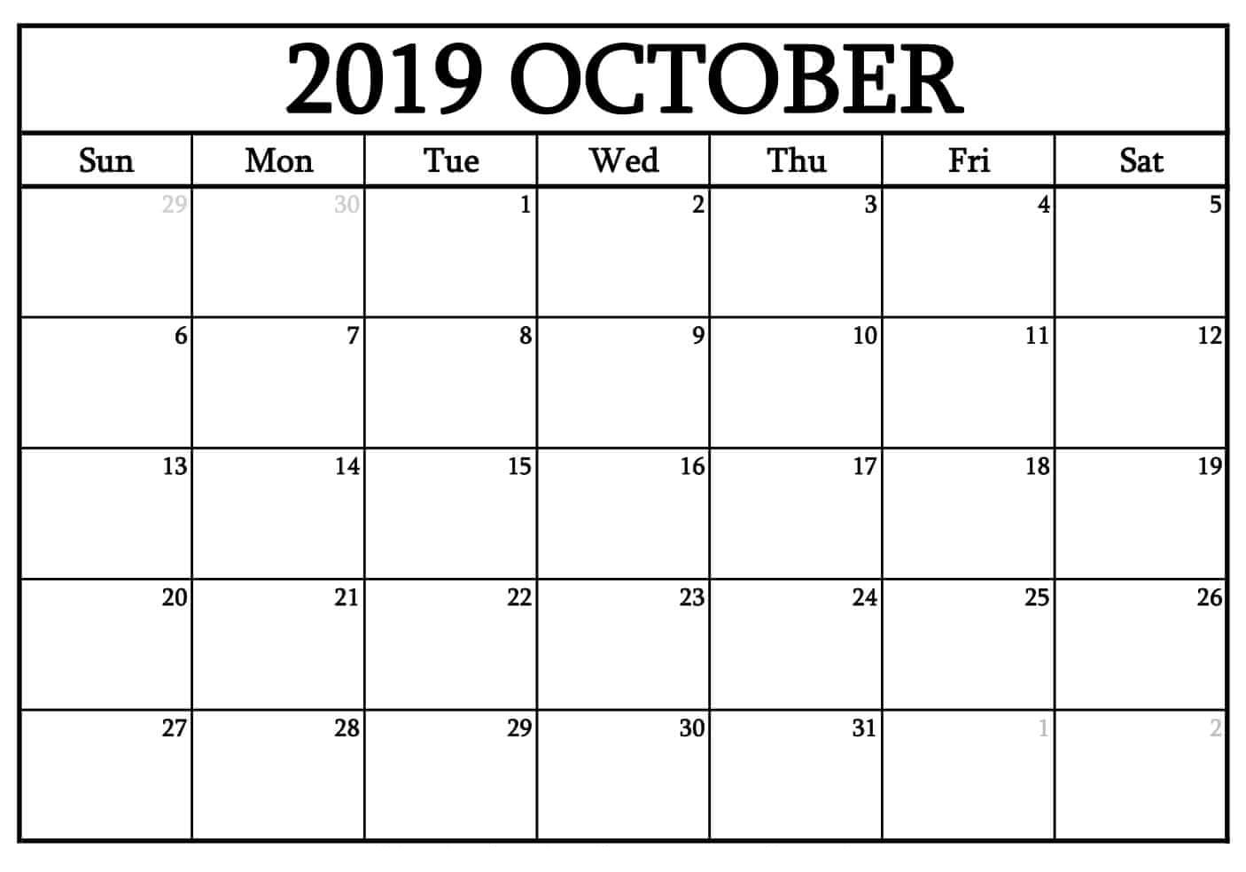 October 2019 Printable Calendar Word, Pdfmonth - Latest within Calendar 2019 October To December