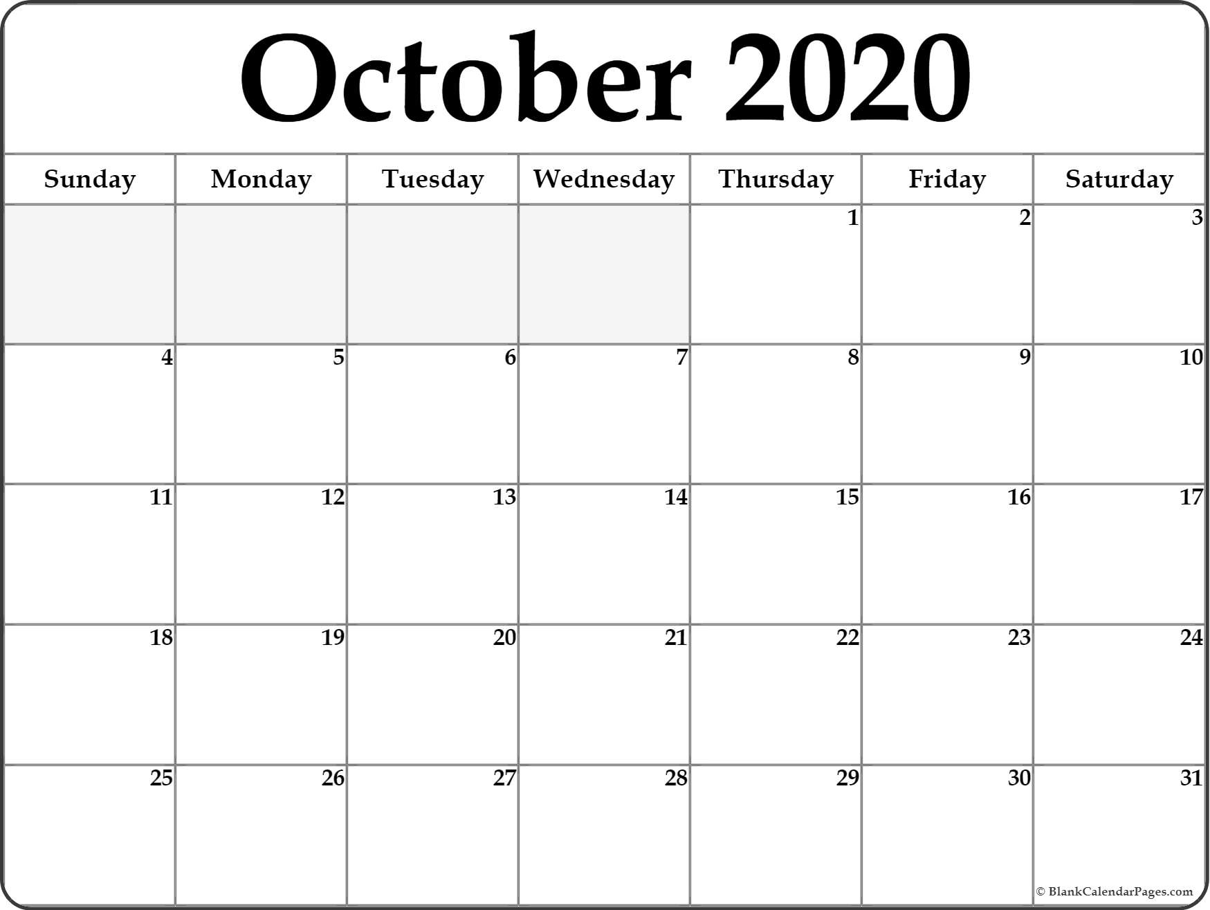 October 2020 Calendar | Free Printable Monthly Calendars within Blank Calendar For Sept