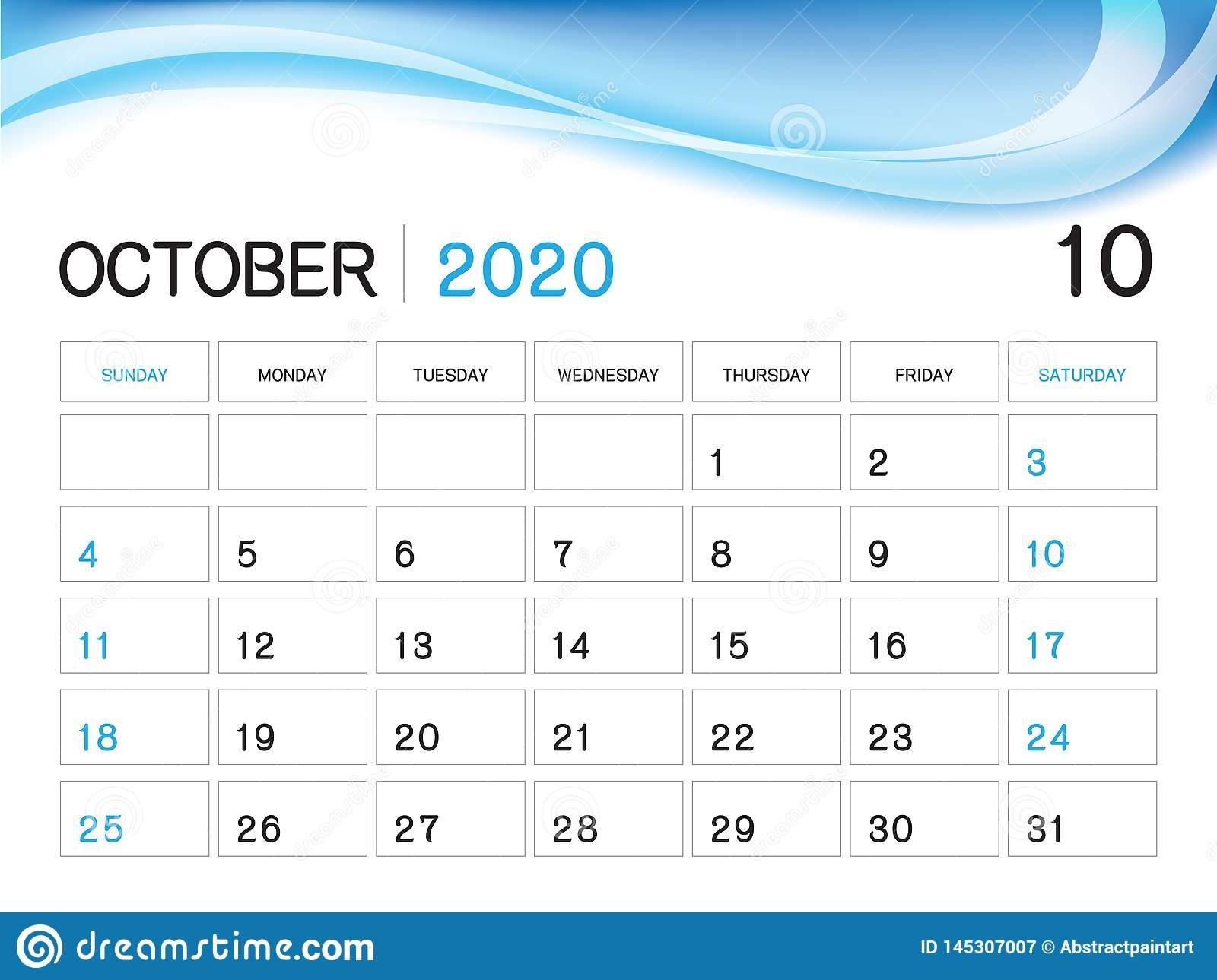 October 2020 Year Template, Calendar 2020 Vector, Desk Calendar throughout Blank Calendar 6 Weeks Start On Sunday