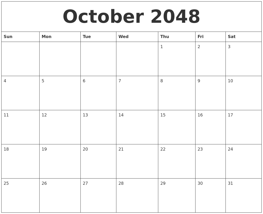 October 2048 Month Calendar Template throughout Template For Calendar By Month