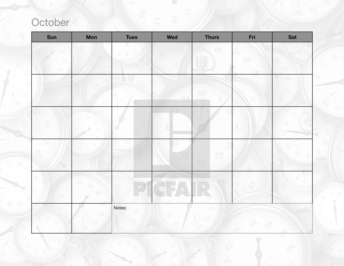 October Blank Calendar - License, Download Or Print For £38.18 regarding October Blank Calendar Monday To Friday Only