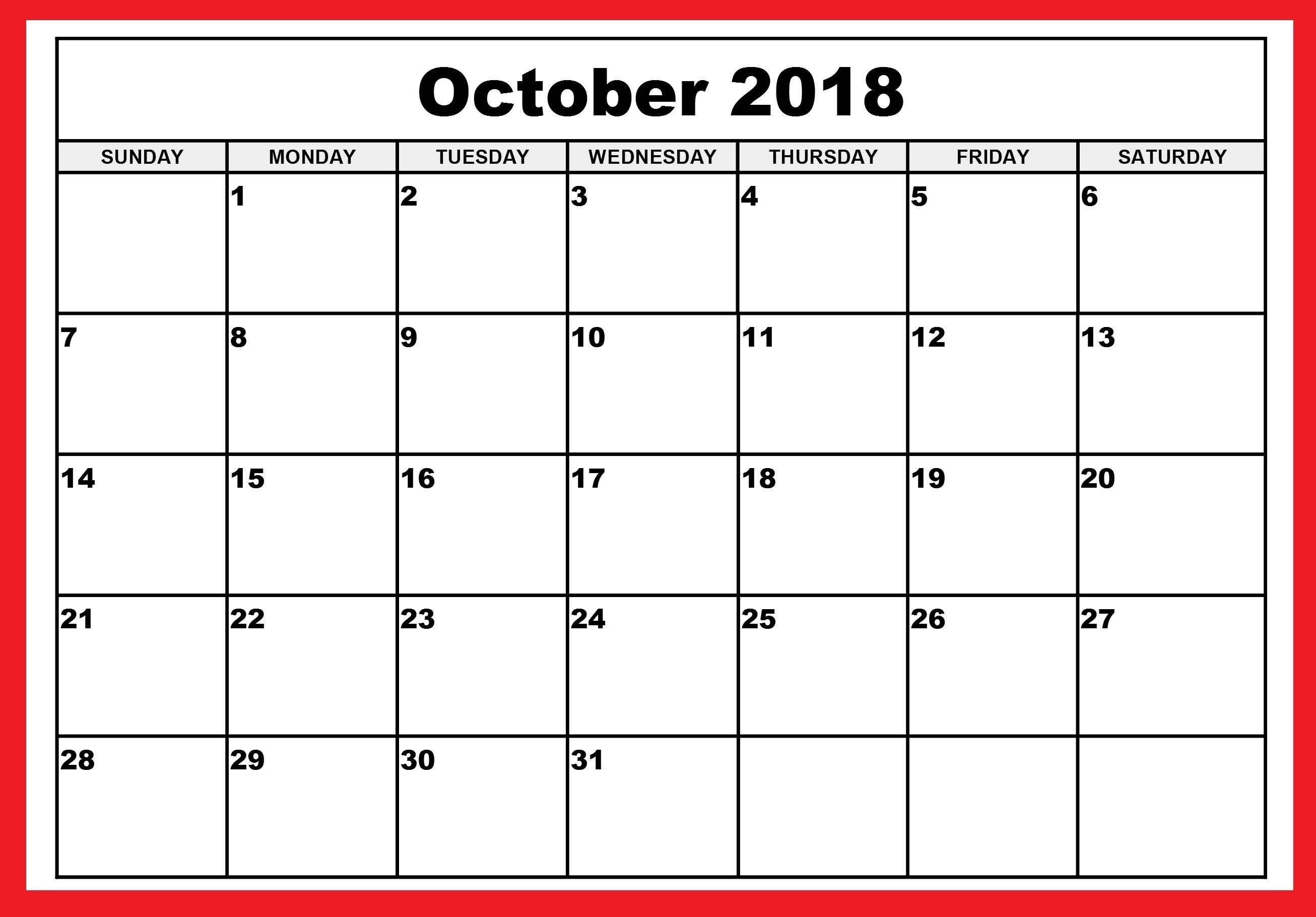 October Blank Calendar Monday To Friday Only | Template Calendar pertaining to October Blank Calendar Monday To Friday Only