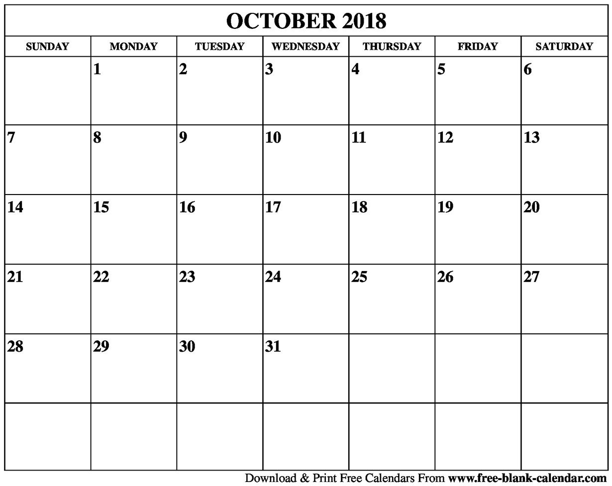 October Blank Calendar Monday To Friday Only | Template Calendar throughout Blank Calendar Template Monday To Friday Only