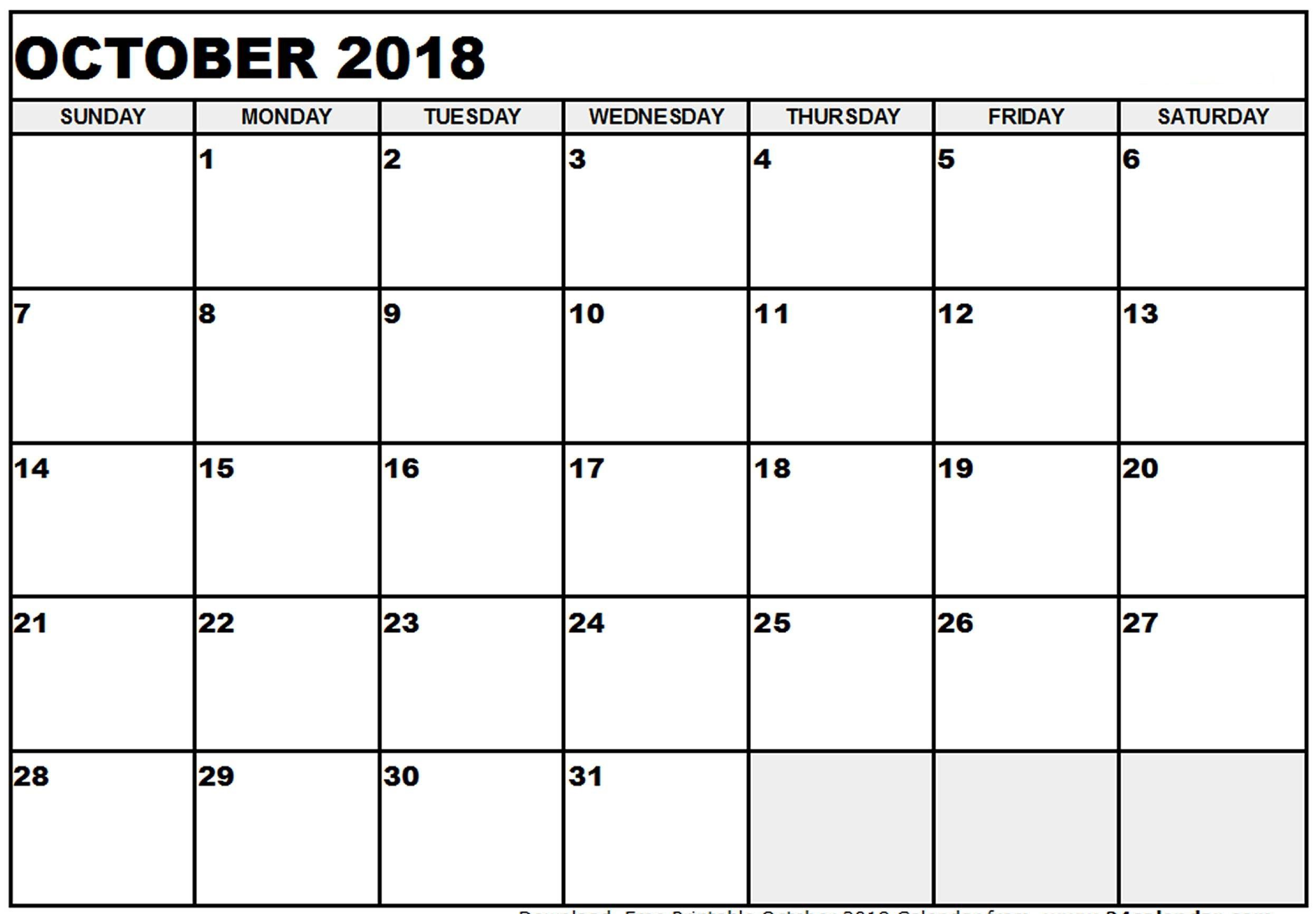 October Calendar 2018 Blank in October Calendar Printable Template
