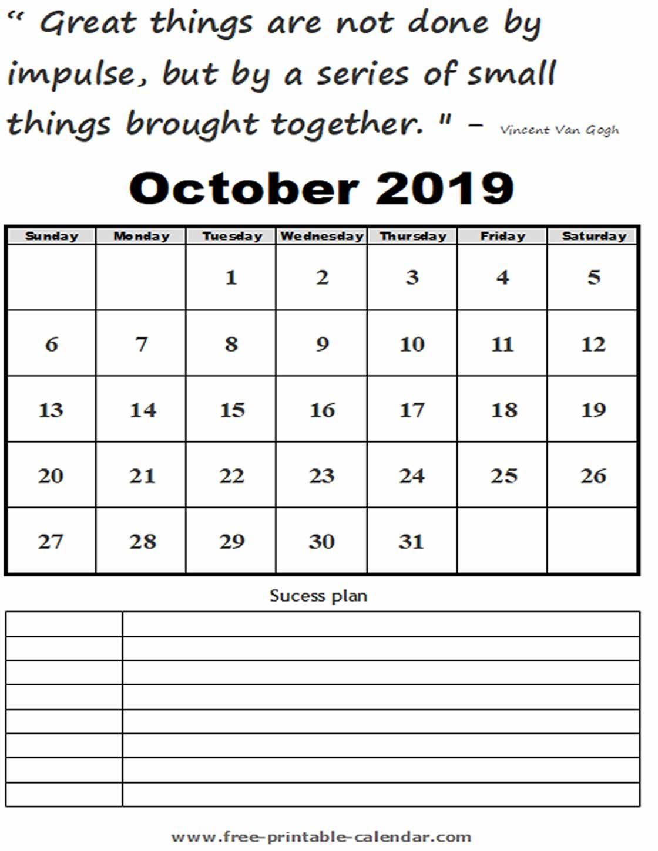 October Calendar 2019 Printable - Free-Printable-Calendar within Calendar 2019 October To December