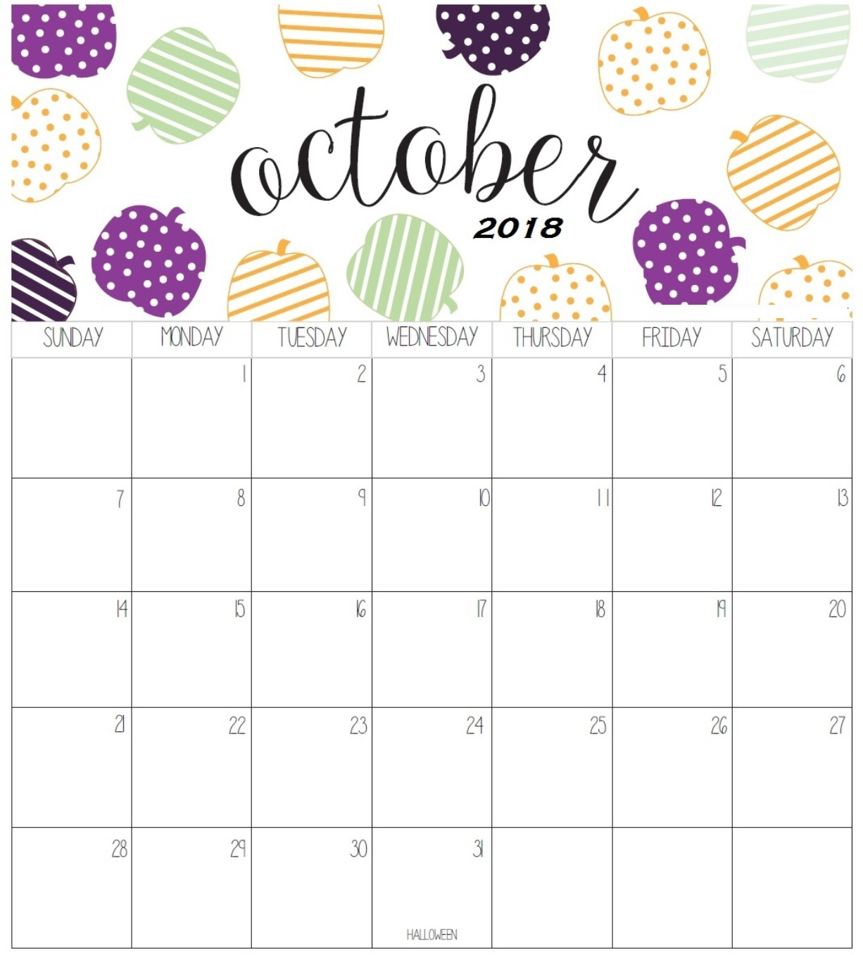 October Printable Calendar - Nadi.palmex.co in Free Cute Printable Calendar Templates