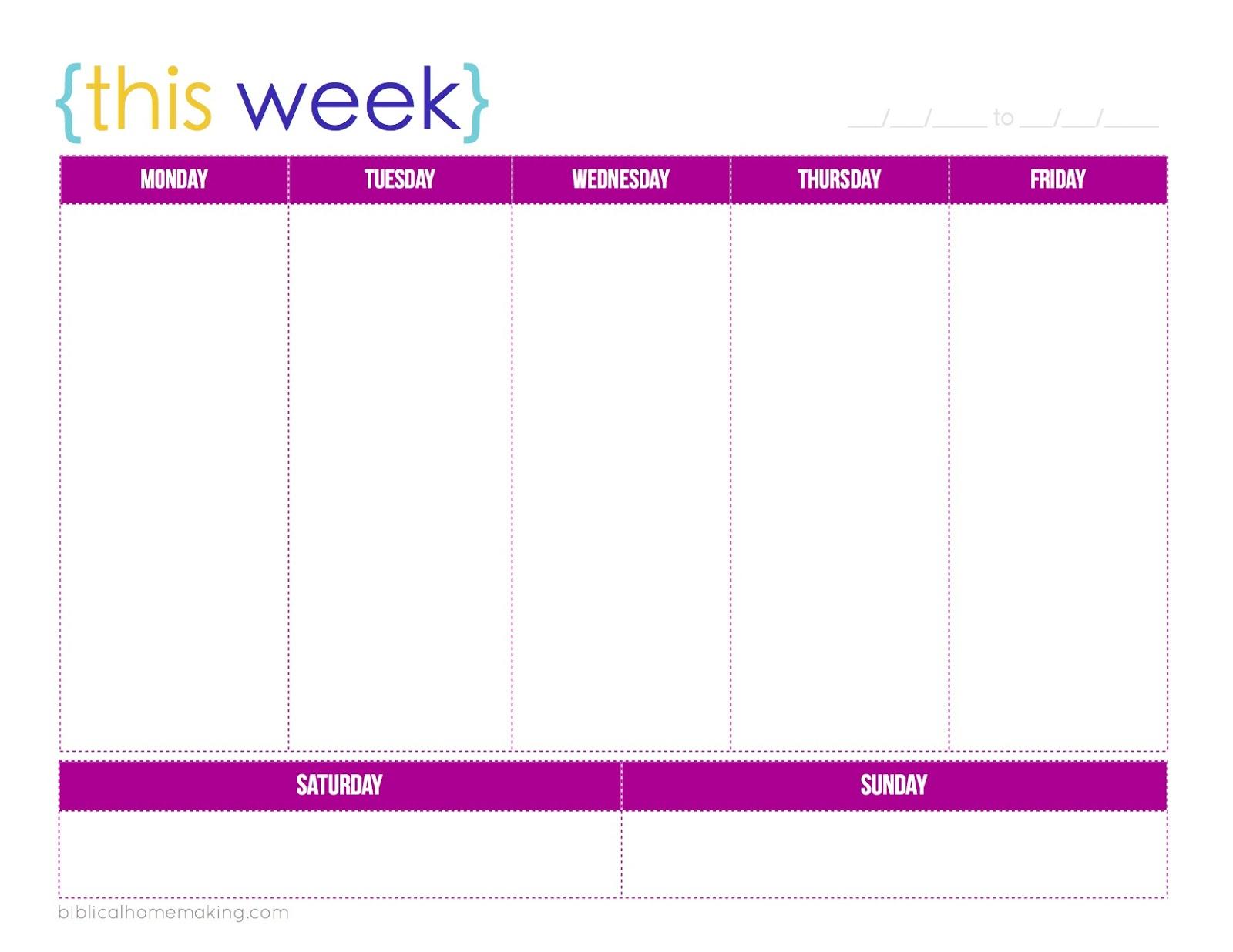 One Week Calendar Printable Schedule Ate Blank | Smorad throughout 1 Week Blank Calendar Template