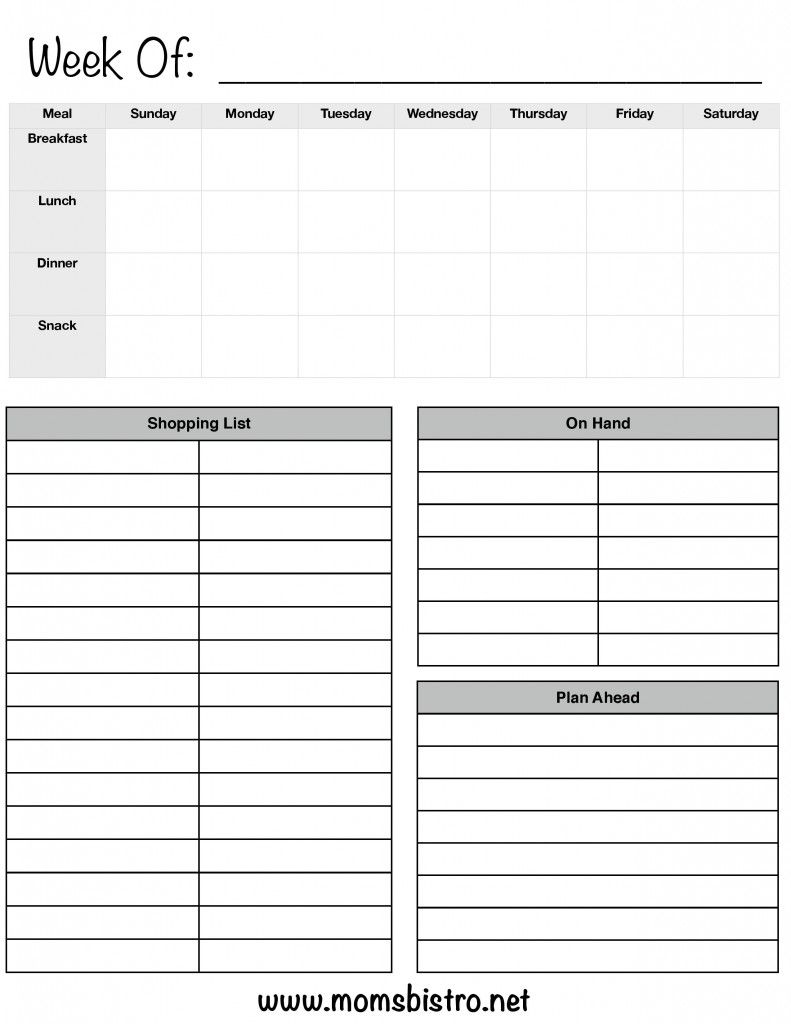 One Week Meal Planning Template With Grocery List - Plan Breakfast throughout Monthly 5 Week Menu Rotation Template