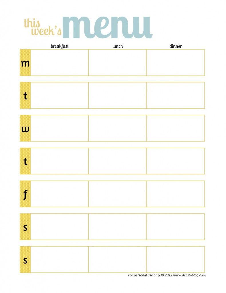 One Week Planner Emplate Schedule Printable Weekly Skip O My Lou with 1 Week Menu Calendar Template