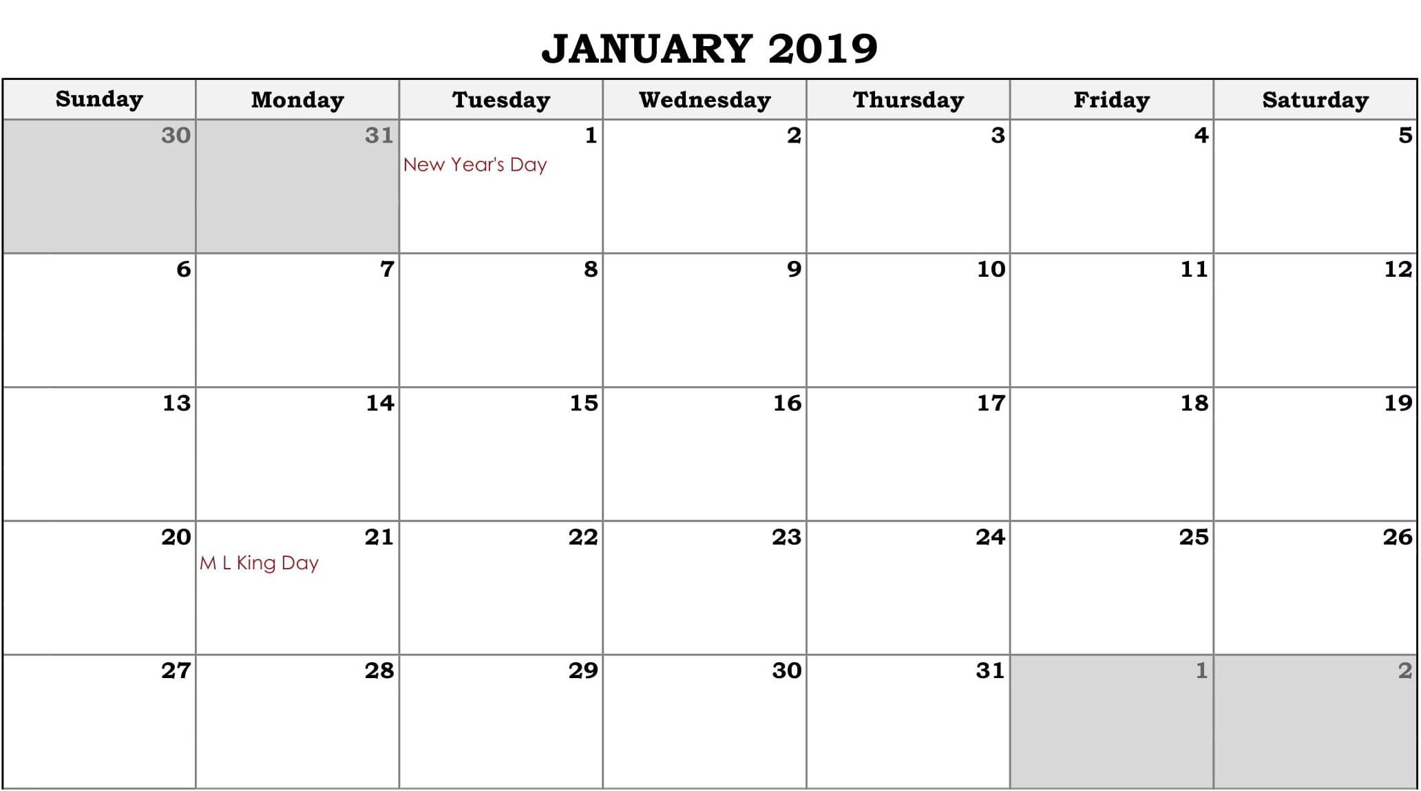 Online Fillable Calendar January 2019 - Free August 2019 Calendar within August - December Blank Calendar